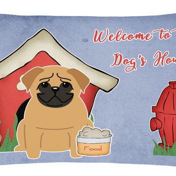Dog House Collection Pug Brown Canvas Fabric Decorative Pillow BB2761PW1216