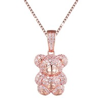 14k Rose Gold Tone Pink Mini Teddy Bear Pendant Set