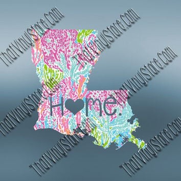Louisiana Heart Home Decal | I Love Louisiana Decal | Homestate Decals | Love Sticker | Preppy State Sticker | Preppy State Decal | 058