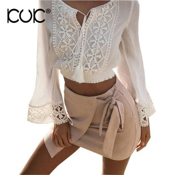 Kuk White Lace Blouse Crop Tops Women Shirt 2017 V Neck Tassel Hollow Out Long Sleeve Beach Tunic Hippie Boho Top A230