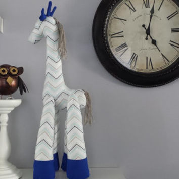 Handmade Giraffe, stuffed toy,child toy, toddler toy, toy, Giraffe, Blue, Unique birthday gift, Baby shower, Blue, Grey, White, Chevron