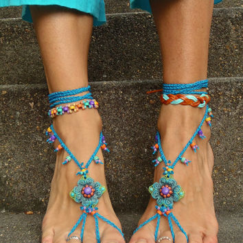 Reserved - Silda Blue HIPPIE BAREFOOT SANDALS crochet sandals beaded sandals foot jewelry beach wedding bohemian gypsy shoes crochet anklets