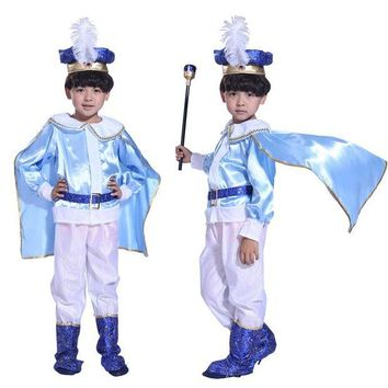 DCCKH6B Halloween Christmas Children boy king handsome prince blue costume masquerade costumes performing