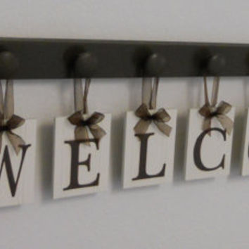 WELCOME with Hearts Sign Personalized Hanging Letters Includes 9 Wood Knob Display Painted Chocolate Brown. Home Entryway Decor