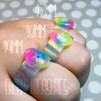 Rainbow unicorn glow in the dark resin ring