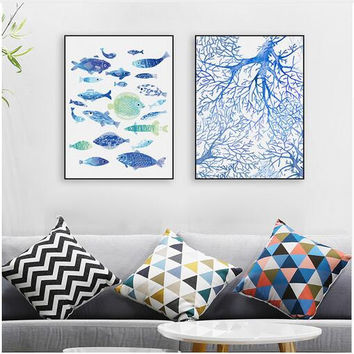 Abstract Sea Fish Blue Coral Big Canvas Art Poster Prints Wall Picture Paintings No Frame Modern Nordic Living Room Home Decor