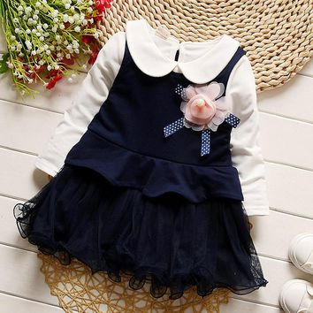 iAiRAY girls clothing toddler girl royal blue party dresses white long sleeve peter pan shirt cute flower infant mesh dress