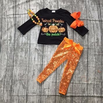 girls Winter outfits baby girls pumpkin in all the patch with pumpkin black top with orange sequin pants outfits with accessorie