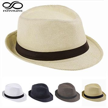 LUCKYLIANJI Child Kid Jazz Beach Fedora Trilby Gangster Cap Summer Sunhat Straw Panama Hat For Boys Girls (One Size:54cm)