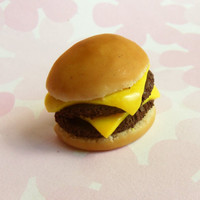 double cheeseburger polymer clay magnet