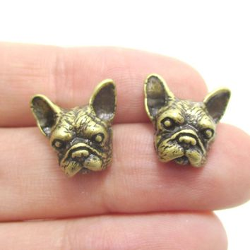 Realistic French Bulldog Puppy Dog Face Shaped Stud Earrings in Brass | DOTOLY