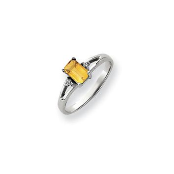 0.024 Ct  14k White Gold 6x4mm Emerald Cut Citrine Diamond Ring I1 Clarity and G/I Color