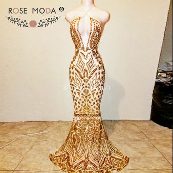 Rose Moda Sexy Bling Gold Sequined Mermaid Prom Dress Backless Prom Dresses 2017 Real Photos