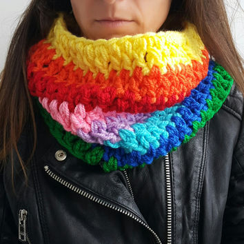 RAINBOW SCARF WOMENS Hand Crochet Scarf Soft Infinity Braided Cable Boho Cowl Loop Crochet Slouchy Scarf Slouch Beanie Hand Winter