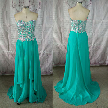 New Style Sweetheart Neckline Appliques Beads Prom Dresses Floor Length Gorgeous Pageant Dress Formal Party Dress ET188