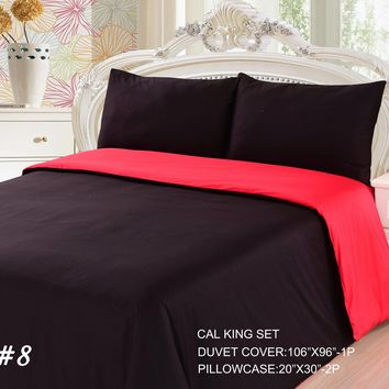 Tache 2-3 Piece Cotton Solid Vibrant Red & Black Reversible Duvet Cover Set