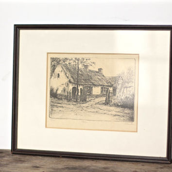 Vintage Signed and Numbered Etching of a Cottage Farmhouse - Original Wall Art