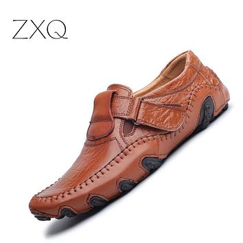 Spring Summer Men Flat Shoes Soft Split Leather Male Moccasin Driving Loafers