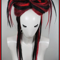Burgundy, Red & Black Synthetic Dread Falls, 20' Long Layered Temporary Hair Extensions, Hair Pieces, Headdress, Wig