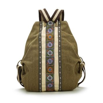 Linen & Cotton Tribal Ethnic Embroidered Floral Backpack Women Travel Rucksack School bag sac a dos femme mochila feminina W526