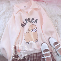 J - fashion Kawaii Cartoon Alpaca Pattern Hoodie LK17112113 from lolita store