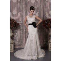 Glamorous Sheath V-Neck Chapel Train Lace Wedding Dress WSC06293