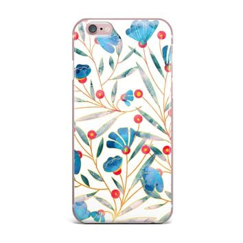 "83 Oranges ""Bluebella"" Blue White Nature Floral Illustration Watercolor iPhone Case"