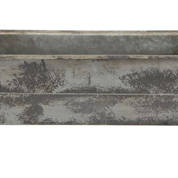 Metal Trough Container/Planter, Distressed Fin