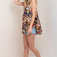 Double Layer Flower Print Tank Top