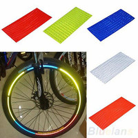 Fluorescent Bike Bicycle Wheel Tyre Rim Reflective Stickers Tape Vest 2014 AUCB