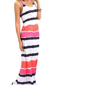 SheIn Womens Summer Maxi Dresses Casual Ladies Multicolor Round Neck Sleeveless Tie Dye Striped Maxi Tank Dress