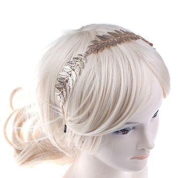 Leaf Branch Dainty Bridal Hair Crown Head Dress Boho