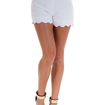 White Scallop Shorts