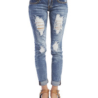 Almost Famous Roll Cuff Crinkle Jeans | Wet Seal