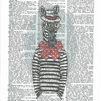 Hipster Zebra on Upcycle Vintage Page Book Print Art Print Dictionary Print Collage Print