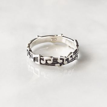 Musical note stering silver ring