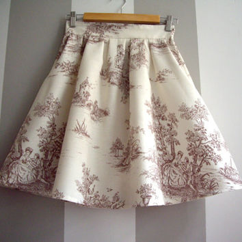 Brown and Cream Toile High Waisted Cotton Skirt,Toile de Jouy Pleated Skirt