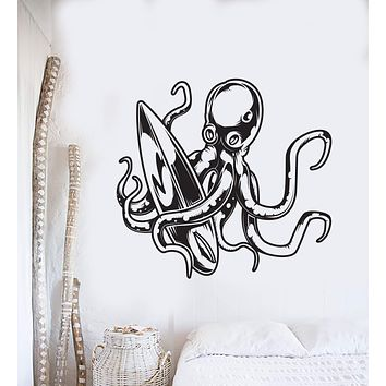 Vinyl Wall Decal Cartoon Octopus Surfing Surfboard Water Sports Stickers (3058ig)