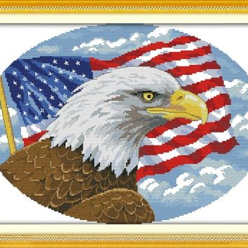 NEW Bald eagle (2) DMC Animal cross stitch kits 14ct  white 11ct  printed embroidery DIY handmade needle work wall home decor