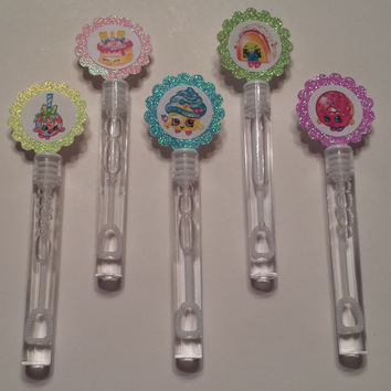 10 Custom Shopkins Bubble Wands/ Bubble Wands Party Favors