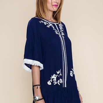 Solid Embroidered detail 1/2 sleeve TUNIC with Tassel