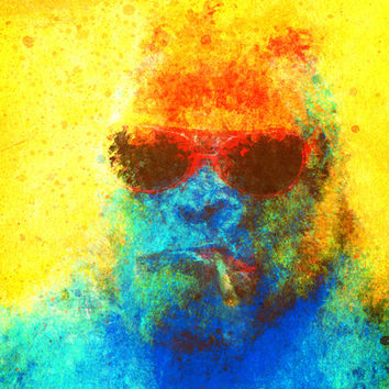 Suspiciously Colorful Gorilla Art Print by Matt Mills | Society6