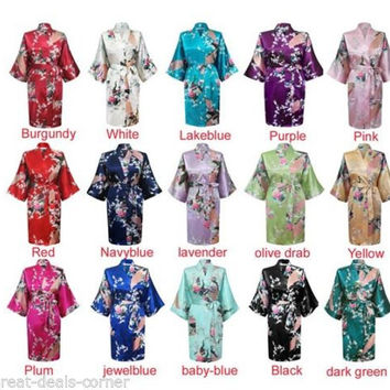 1 or 2 robes Floral Kimono Satin Bridesmaid Robes Wedding Gift Bridal Party Bride Robe Dressing Purple Blue Pink White Green Red Lilac Gown