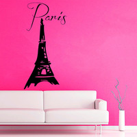 Eiffel Tower Wall Decals Paris Wording France Dream Vinyl Decal Sticker Interior Design Home Decor Art Murals Girl Kids Room Decor KG780