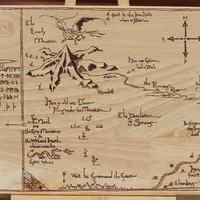 The Hobbit. Map of Erebor. Pyrography wooden cutting board