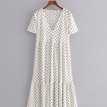 V-neck short-sleeved polka dot print loose slim mid-length dress