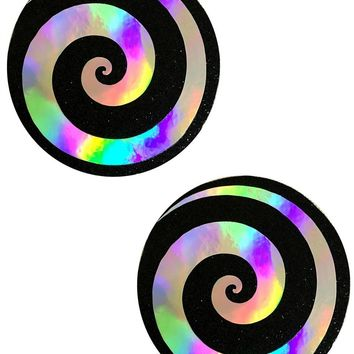 Care Bear Stare Holographic Spiral on Black Nipple Pasties