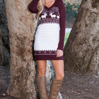 Ultimate Holiday Sweater Dress - Wine