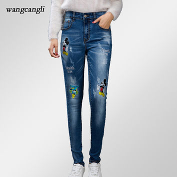 mom skinny jeans women boyfriend jeans with embroidery femme Mickey Donald Duck mid waist Skinny fashion sexy harem pants 5XL XL