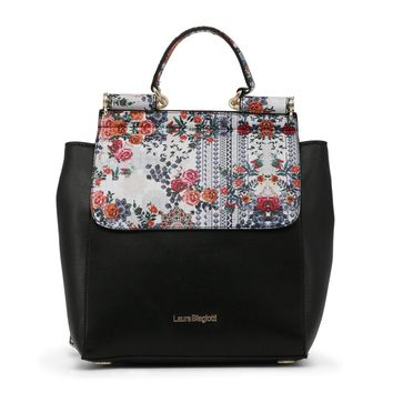 Laura Biagiotti Black Floral Print Backpack